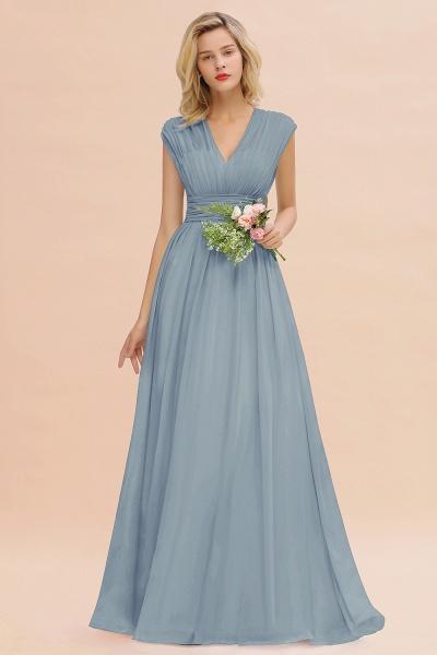 BM0774 Chiffon V-Neck Sleeveless Elegant A-line Ruffles Bridesmaid Dress_40