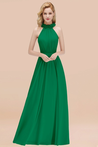 A-line Chiffon Halter Sleeveless Ruffled Floor Length Bridesmaid Dresses_32