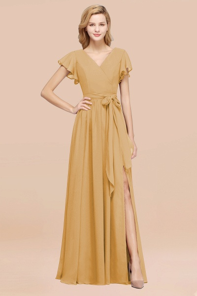 elegant A-line Chiffon V-Neck Short-Sleeves Floor-Length Bridesmaid Dresses with Bow Sash_13