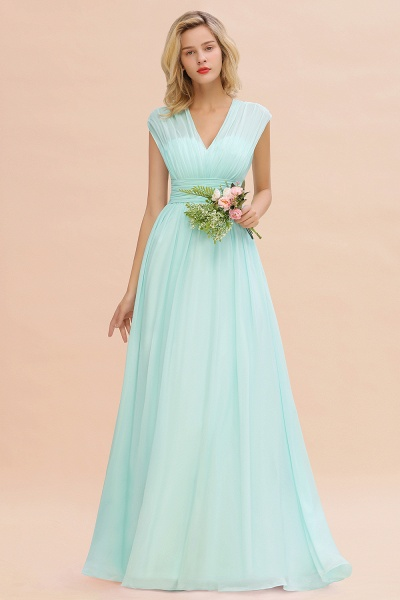 BM0774 Chiffon V-Neck Sleeveless Elegant A-line Ruffles Bridesmaid Dress_36