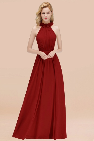 A-line Chiffon Halter Sleeveless Ruffled Floor Length Bridesmaid Dresses_48