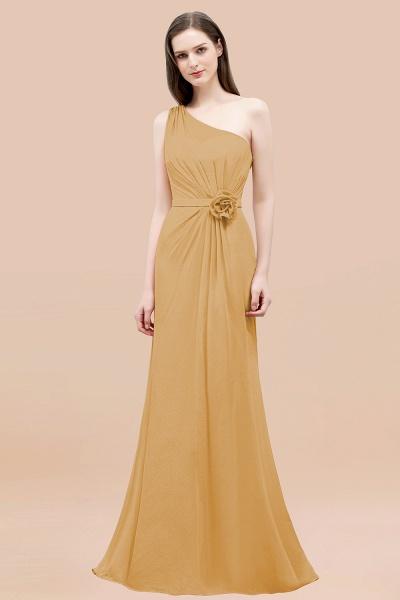 Mermaid Chiffon One-shoulder Sleeveless Ruffled Floor-Length Bridesmaid Dresses with Flower_13