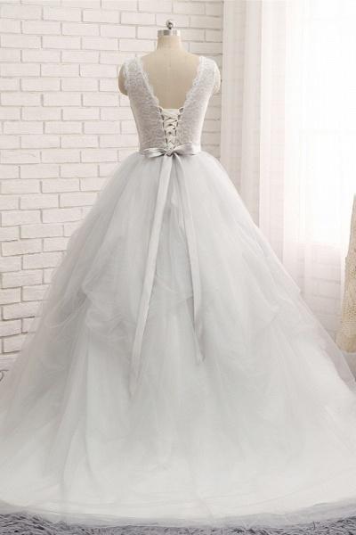 Affordable Long Princess Jewel Tulle Lace Wedding Dress_2
