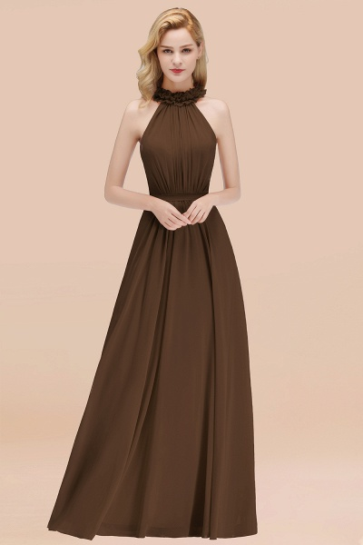 A-line Chiffon Halter Sleeveless Ruffled Floor Length Bridesmaid Dresses_12