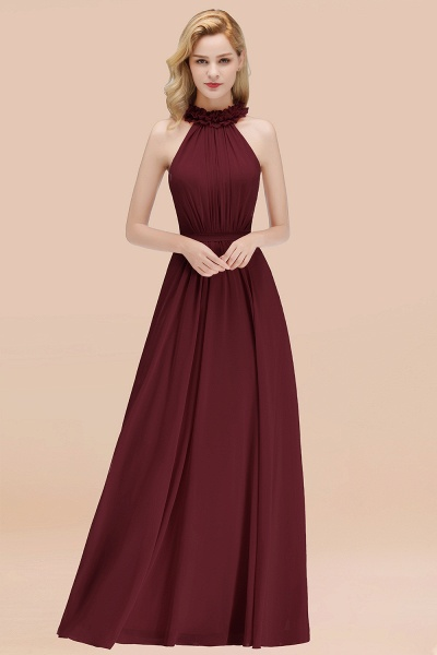 A-line Chiffon Halter Sleeveless Ruffled Floor Length Bridesmaid Dresses_10