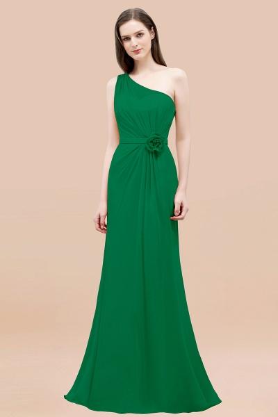 Mermaid Chiffon One-shoulder Sleeveless Ruffled Floor-Length Bridesmaid Dresses with Flower_49