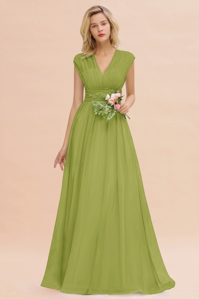 BM0774 Chiffon V-Neck Sleeveless Elegant A-line Ruffles Bridesmaid Dress_34