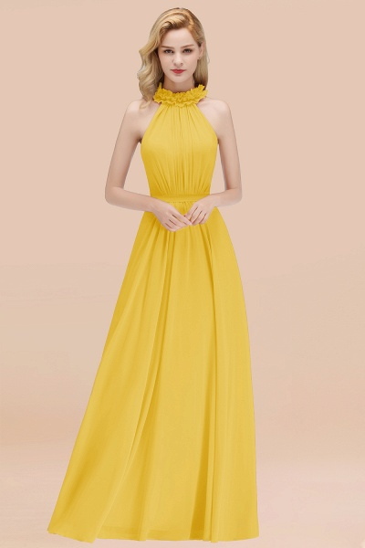 A-line Chiffon Halter Sleeveless Ruffled Floor Length Bridesmaid Dresses_17