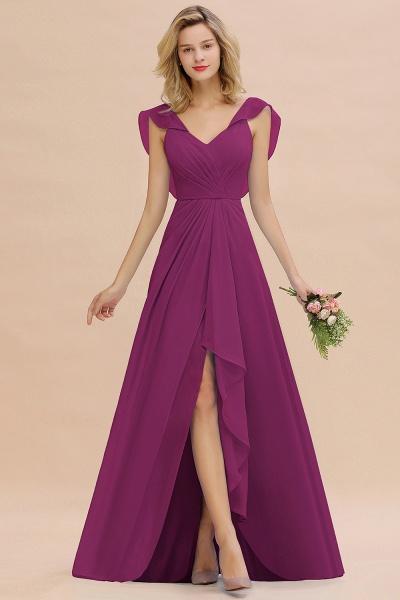 BM0777 Simple Hi-Lo V-Neck Ruffles Long Bridesmaid Dress_42