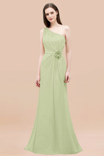 Mermaid Chiffon One-shoulder Sleeveless Ruffled Floor-Length Bridesmaid Dresses with Flower_35