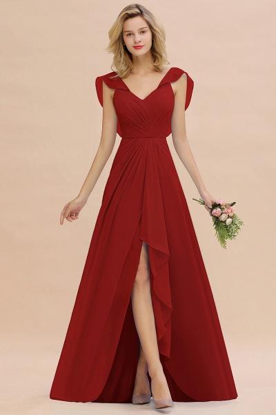BM0777 Simple Hi-Lo V-Neck Ruffles Long Bridesmaid Dress_48