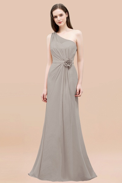 Mermaid Chiffon One-shoulder Sleeveless Ruffled Floor-Length Bridesmaid Dresses with Flower_30