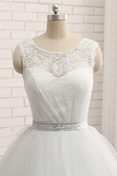 Affordable Long Princess Jewel Tulle Lace Wedding Dress_4