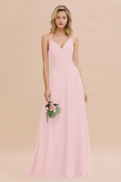 BM0779 Stylish Chiffon Spaghetti Straps Sleeveless Long Bridesmaid Dress_3