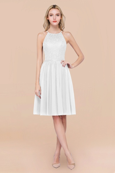 A-line Chiffon Lace Jewel Sleeveless Knee-Length Bridesmaid Dresses with Ruffles_1