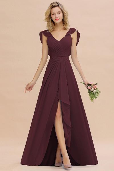 BM0777 Simple Hi-Lo V-Neck Ruffles Long Bridesmaid Dress_47