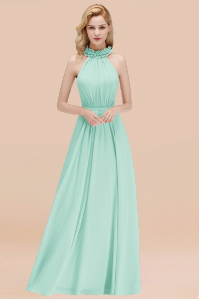 A-line Chiffon Halter Sleeveless Ruffled Floor Length Bridesmaid Dresses_36
