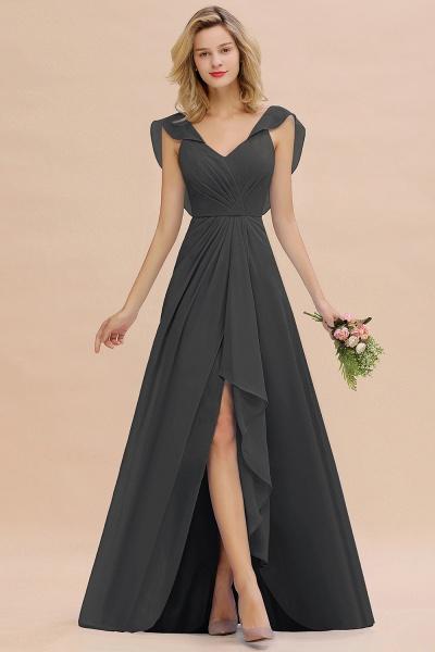BM0777 Simple Hi-Lo V-Neck Ruffles Long Bridesmaid Dress_46