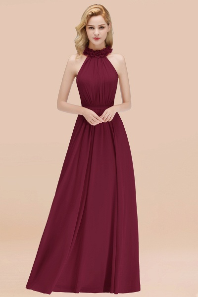 A-line Chiffon Halter Sleeveless Ruffled Floor Length Bridesmaid Dresses_44