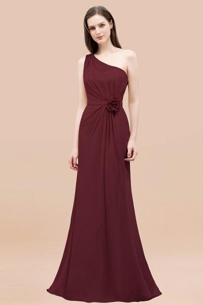 Mermaid Chiffon One-shoulder Sleeveless Ruffled Floor-Length Bridesmaid Dresses with Flower_10