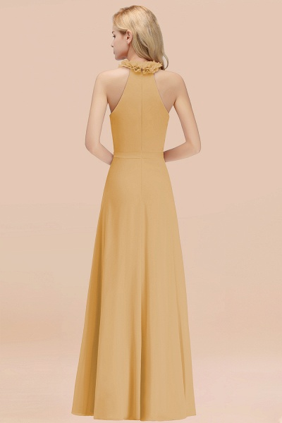 A-line Chiffon Halter Sleeveless Ruffled Floor Length Bridesmaid Dresses_13