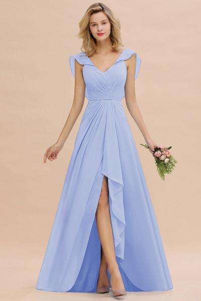 BM0777 Simple Hi-Lo V-Neck Ruffles Long Bridesmaid Dress_22