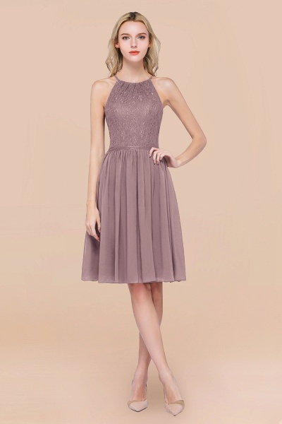 A-line Chiffon Lace Jewel Sleeveless Knee-Length Bridesmaid Dresses with Ruffles_37