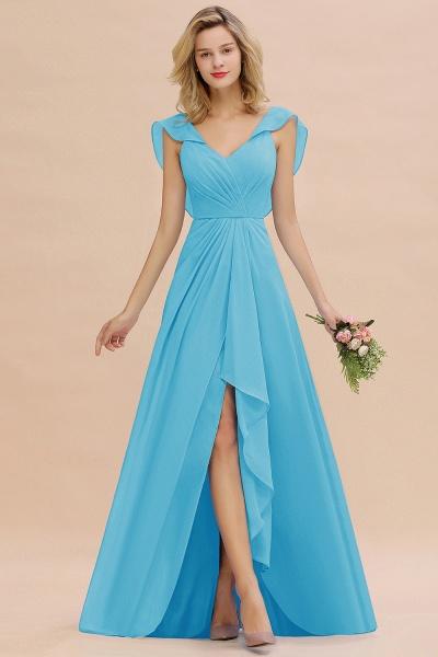 BM0777 Simple Hi-Lo V-Neck Ruffles Long Bridesmaid Dress_24