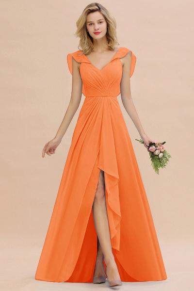 BM0777 Simple Hi-Lo V-Neck Ruffles Long Bridesmaid Dress_15