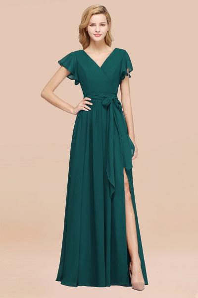 elegant A-line Chiffon V-Neck Short-Sleeves Floor-Length Bridesmaid Dresses with Bow Sash_33