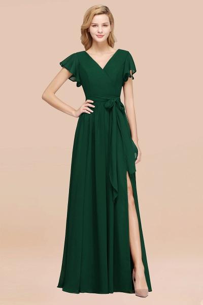 elegant A-line Chiffon V-Neck Short-Sleeves Floor-Length Bridesmaid Dresses with Bow Sash_31
