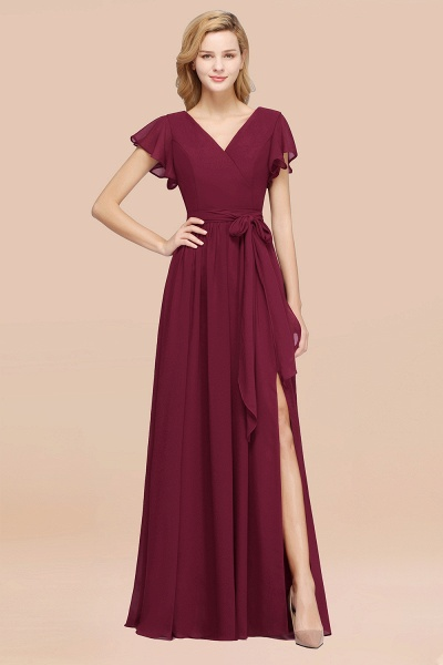 elegant A-line Chiffon V-Neck Short-Sleeves Floor-Length Bridesmaid Dresses with Bow Sash_44