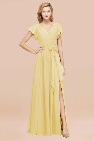 elegant A-line Chiffon V-Neck Short-Sleeves Floor-Length Bridesmaid Dresses with Bow Sash_18