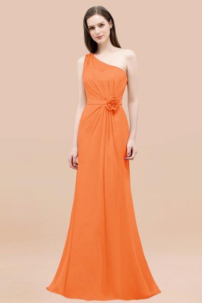 Mermaid Chiffon One-shoulder Sleeveless Ruffled Floor-Length Bridesmaid Dresses with Flower_15