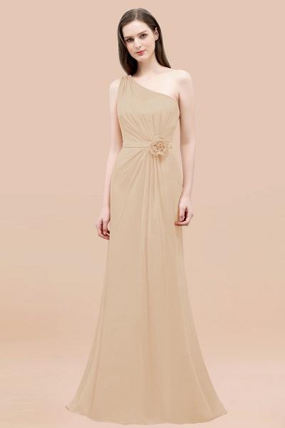 Mermaid Chiffon One-shoulder Sleeveless Ruffled Floor-Length Bridesmaid Dresses with Flower_14