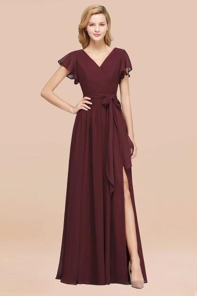 elegant A-line Chiffon V-Neck Short-Sleeves Floor-Length Bridesmaid Dresses with Bow Sash_47