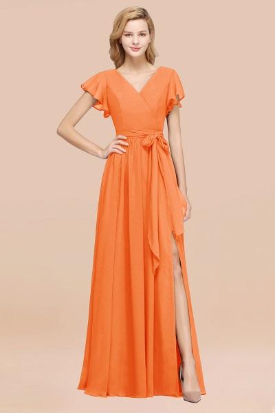 elegant A-line Chiffon V-Neck Short-Sleeves Floor-Length Bridesmaid Dresses with Bow Sash_15