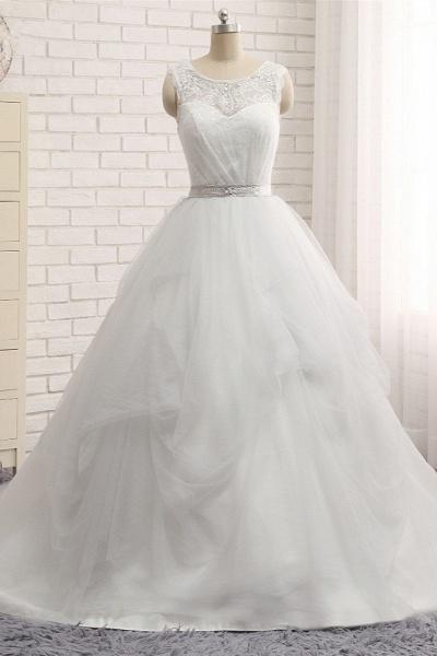 Affordable Long Princess Jewel Tulle Lace Wedding Dress