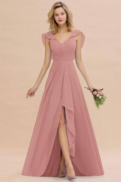 BM0777 Simple Hi-Lo V-Neck Ruffles Long Bridesmaid Dress_50
