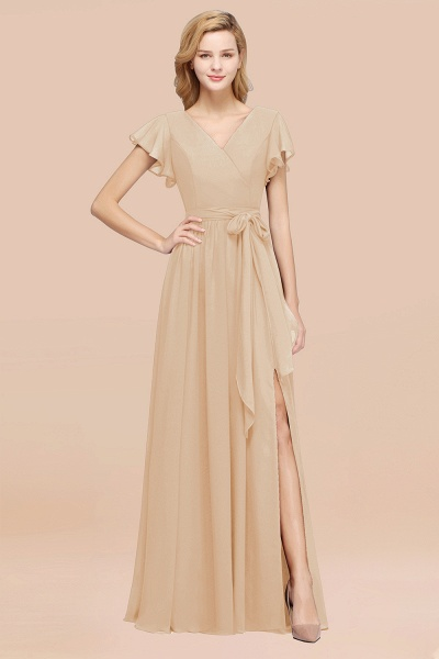 elegant A-line Chiffon V-Neck Short-Sleeves Floor-Length Bridesmaid Dresses with Bow Sash_14