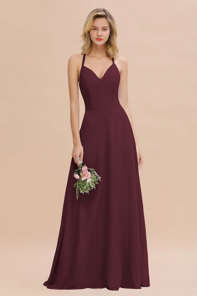 BM0779 Stylish Chiffon Spaghetti Straps Sleeveless Long Bridesmaid Dress_47