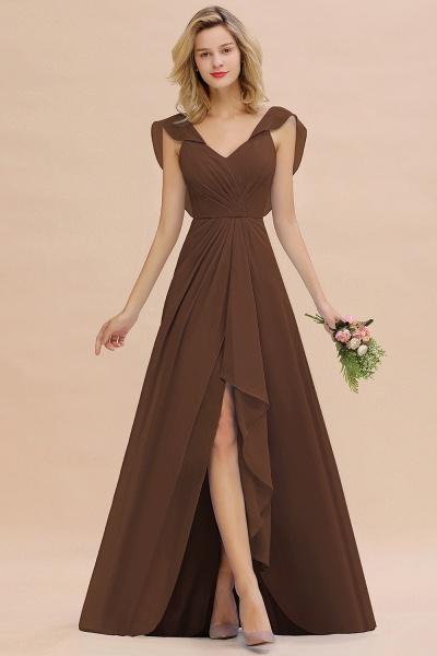 BM0777 Simple Hi-Lo V-Neck Ruffles Long Bridesmaid Dress_12