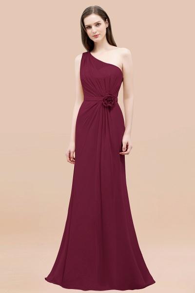 Mermaid Chiffon One-shoulder Sleeveless Ruffled Floor-Length Bridesmaid Dresses with Flower_44