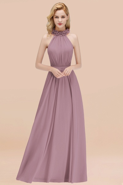 A-line Chiffon Halter Sleeveless Ruffled Floor Length Bridesmaid Dresses_43