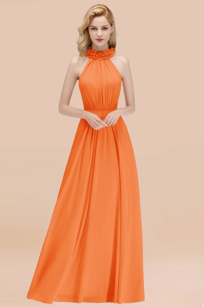 A-line Chiffon Halter Sleeveless Ruffled Floor Length Bridesmaid Dresses_15