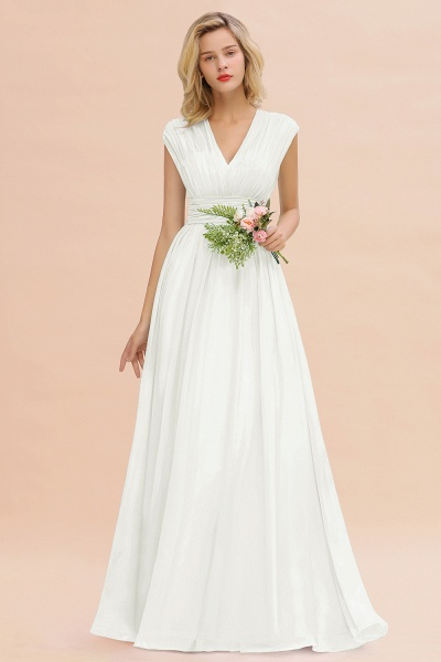 BM0774 Chiffon V-Neck Sleeveless Elegant A-line Ruffles Bridesmaid Dress_2