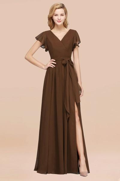 elegant A-line Chiffon V-Neck Short-Sleeves Floor-Length Bridesmaid Dresses with Bow Sash_12