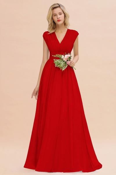 BM0774 Chiffon V-Neck Sleeveless Elegant A-line Ruffles Bridesmaid Dress_8
