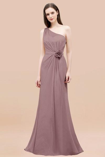 Mermaid Chiffon One-shoulder Sleeveless Ruffled Floor-Length Bridesmaid Dresses with Flower_37