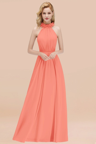 A-line Chiffon Halter Sleeveless Ruffled Floor Length Bridesmaid Dresses_45